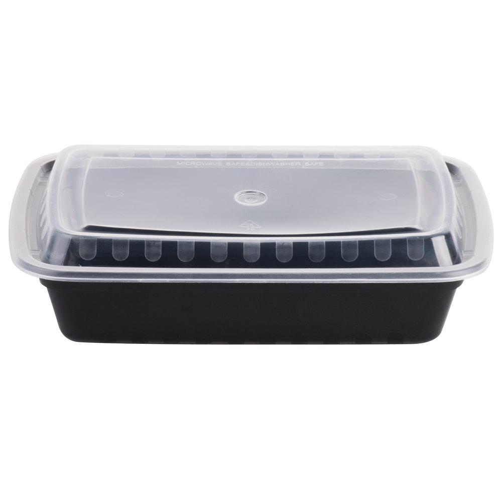 Meal Prep Containers Rectangular 28oz Black Base w/ Clear Lids 150 set/cnt