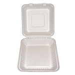 PRIMEWARE HINGED CONTAINER MOLDED FIBER 9X9X3 1 COMPARTMENT 2/100ct